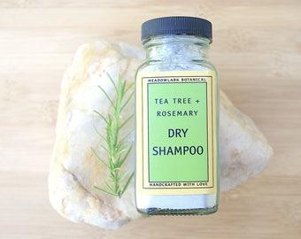 Organic Dry Shampoo w. Tea Tree + Rosemary   Natural Dry Shampoo Powder   Vegan Shampoo for Oily Hair   Travel Shampoo   Organic Hair Care