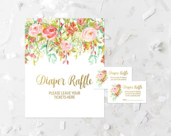 Bohemian Diaper Raffle Game Printable Boho Diaper Raffle Sign Pink Floral Diaper Raffle Tickets Pink Invitation Diaper Raffle Insert 117