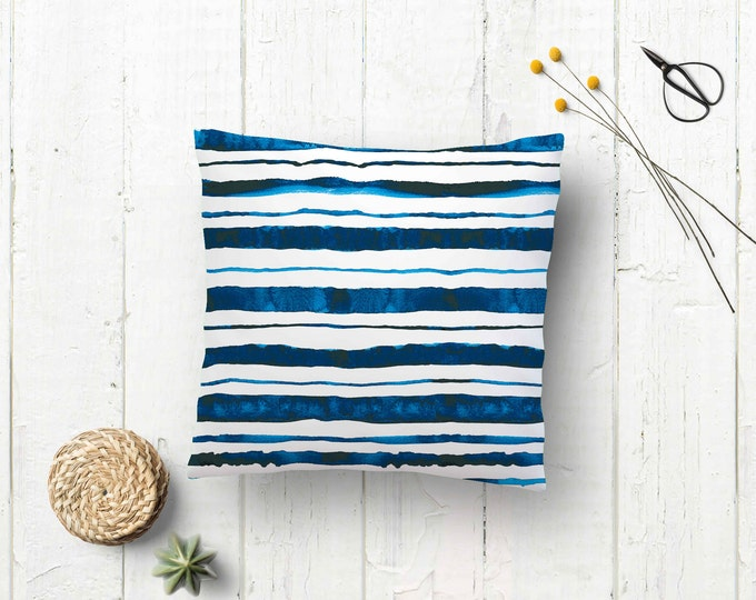 Featured listing image: Cushion case mordic style - Indigo pillow case - Watercolor pillow - Pillowcase - Indigo cushion case - Blue pillow case - Decorative pillow