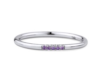 14k White Gold Amethyst Ring, White Gold Amethyst Engagement Ring, Stackable Birthstone Ring with Amethysts, White Gold Midi Ring