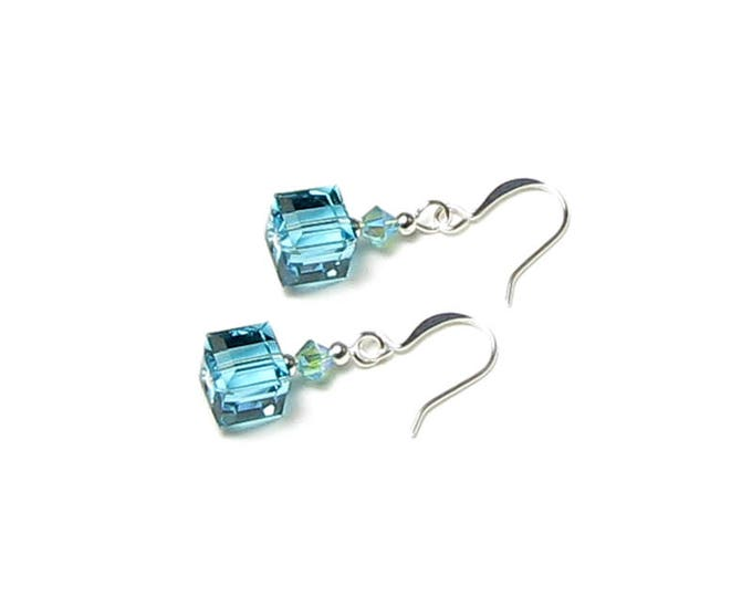 Light Turquoise Swarovski Crystal Cube Silver Earrings AB2X Shimmer Summer Beach Accessory Gift for Women Fun Mermaid Glitter Color for Teen