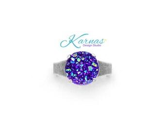 PURPLE AB DRUZY 12mm Adjustable Faux Druzy Ring *Choose Your Finish *Karnas Design Studio™ *Free Shipping*