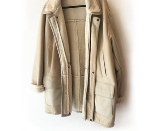 Vintage 80's Men's Owen Barry Oversized Real Lamb Shearling and Leather Cream Colored Jacket Size XL