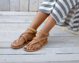 PAROS Leather sandals, greek sandals, summer shoes, gladiator sandals, flat sandals
