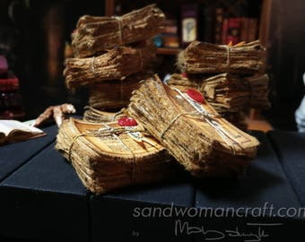 Miniature stack/ pile of very aged papers. Fantasy dollhouse miniatures in 1/12 scale, 1 inch scale. Magic spell wizard witch halloween