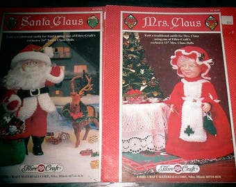 "Vintage Knitting Pattern For Traditional Outfits for SANTA CLAUS & Mrs CLAUS - For 13"" and 14"" Dolls - Fibre Craft - c. 1994"