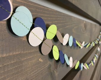 Baby Boy Garland || Circle Garland || Nursery Decoration || Baby Shower Decoration || Its a Boy || Blue Green || Confetti Garland