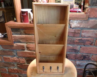 Wood mail sorter, Vintage wooden mail holder, mail and key holder, hanging wall mail organizer