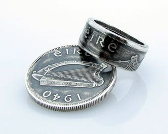 Irish Coróin Eire Coin Ring, Half Crown, Ireland, Silver, Unique Ring, Coin Jewelry, Mens, Band, Mans, Rings