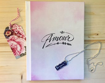 Amour Hard Cover Travel Journal & Bonjour Necklace