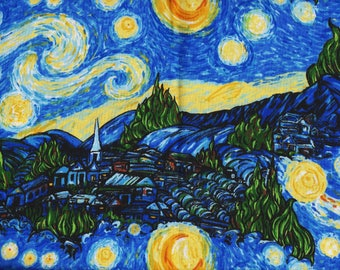 BTY STARRY NIGHT Print Inspired by Vincent Van Gogh Artwork 100% Cotton Quilt Craft Fabric by the Yard