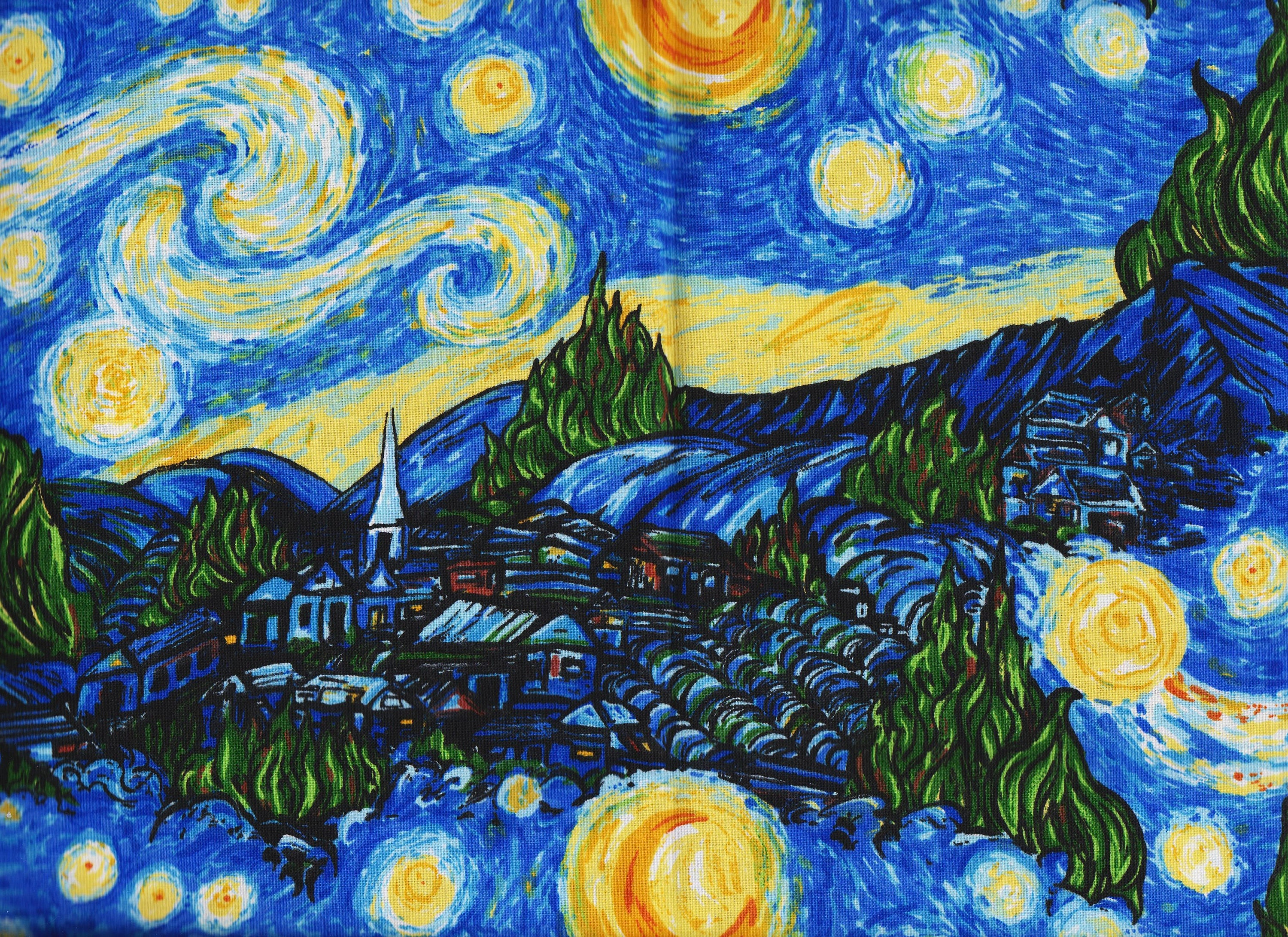 Bty Starry Night Print Inspired By Vincent Van Gogh Artwork