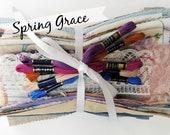 Fabric Grab Bag VINTAGE Mix: Sewing Gift Boro Mending DIY Patches Scrap Textile Bundle Thread Set Art Dolls Crazy Quilt Collage Craft Pack