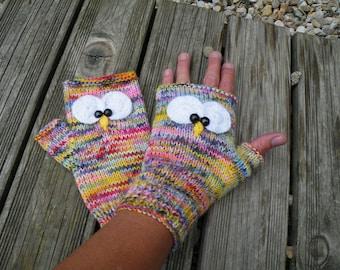 mitaines chouettes laine teinté a la main