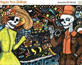 Dia del los muertos Cross Stitch Pattern Pdf muertos pattern punto de cruz - 276 x 202 stitches - INSTANT Download - B1327