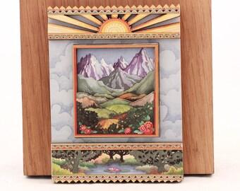 Vintage Sunrise Sealed  ~Mountain Scene~ 3-D Magnet.