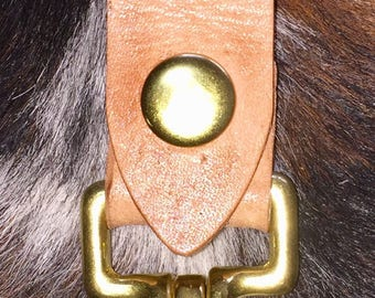 Leather Belt Key Holder with solid brass clip & snap.