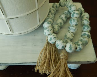 Chippy wood bead garland with double jute tassel, jewelry for the home, distressed wood, farmhouse beads, rustic decor, sage green