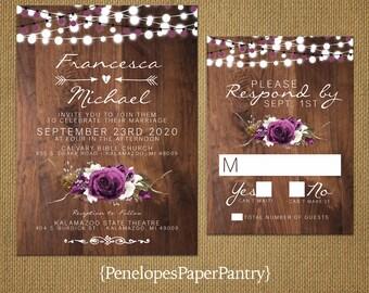 Romantic Rustic Fall Wedding Invitation,Plum,Cream,Roses,Babys Breath,Fairy Lights,Heart,Arrows,Barn Wood,Printed Invitation,Wedding Set