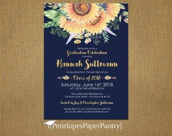 Navy  Sunflower Graduation Party Invitation,Announcement,Sunflowers,Rustic,2018 Grad,High School,College,Custom,Printed Cards,Envelopes