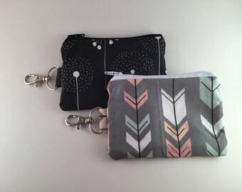 Gray Arrows or black dandelion zipper keychain pouch