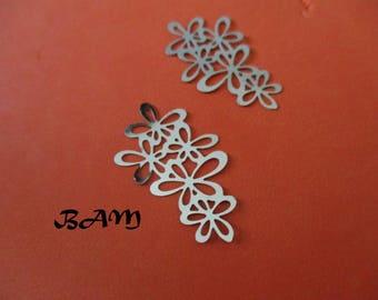 Set of 2 Silver flower prints