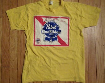 Rare Vintage Pabst Blue Ribbon Beer Yellow T- Shirt Large USA Made 70's 80's