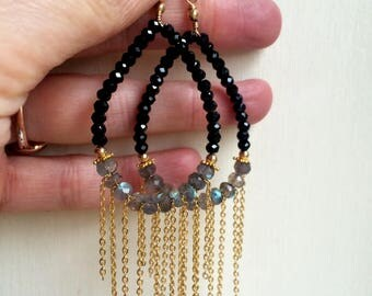 Long Black Spinel and Labradorite earrings 18K Gold Fill statement shoulder duster earrings