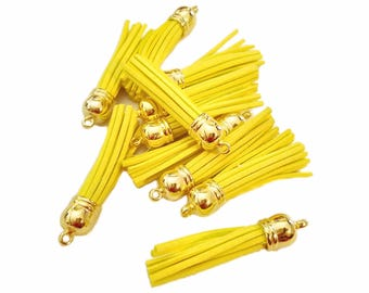 58mm Tassels - Long Tassels - 10 Yellow with Gold Cap - Decorative Tassels For Jewelry - Purse Tassels - Key Chain Tassel Pendants - TL-G063