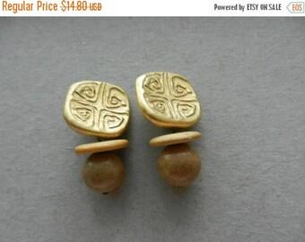 Summer Sale Vintage Designer Unsigned Greek / Middle Eastern Style Earrings