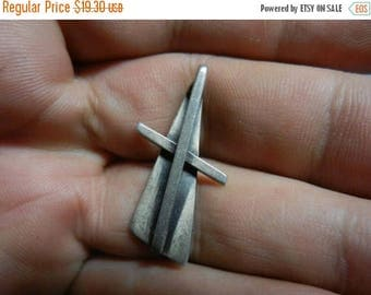 Summer Sale Vintage Sterling Silver Orb Signed Cross Pendant