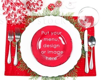 Christmas Table / Mock up / Table Mockup / Plate / Table Setting / Place setting / Styled Stock Photography / Menu / Dishes / StockStyle-901