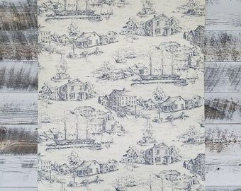 Nautical Toile Wallpaper Vintage Ship Navy Antique Scene AT4135 - Sold by the Yard