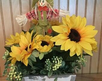 Fall foral arrangement, thanksgiving centerpiece, sunflower arrangement, farmhouse decor