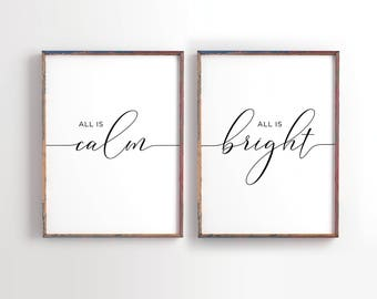 All is Calm, All is Bright, Christmas printable decor, Black and Gold Holiday Typography Decor, Modern Holiday Decor, set of 2 printable