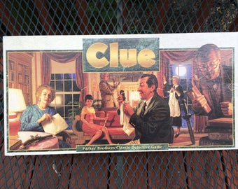 Vintage Clue Board Game Parker Brothers Retro Family Game Copyright 1992