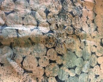 "Marimekko ""Turnturipollo"" linen fabric in blue, sold by the half yard"