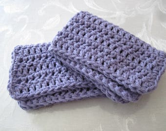"Set of Two Hand Crochet Purple Washcloths, Dishcloths, and Facecloths 10 1/2"" by 6 1/2"" ( One Price Buys Two)"