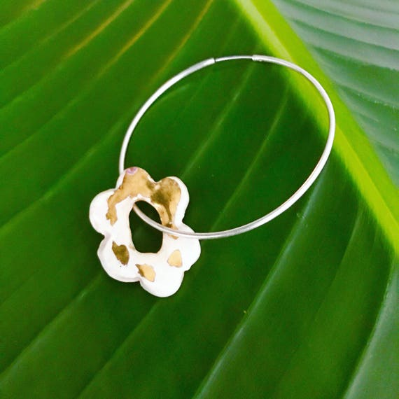 Flower on the Hoop Ceramic Gold Luster Earring - Single