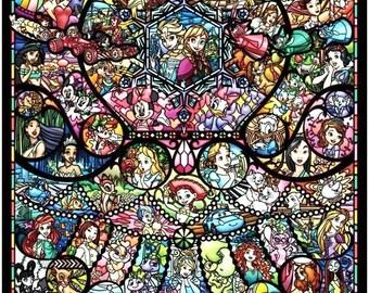 "Disney heroine Counted Cross Stitch Disney heroine Pattern modern cross stitch stained glass - 24.29"" x 35.00"" - L1350"
