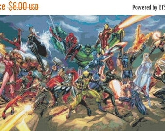 """marvel all characters Counted Cross Stitch marvel Pattern chart pdf file point de croix embroidery - 35.43"""" x 16.64"""" - L815"""