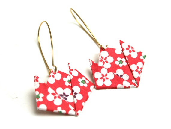 Origami paper Lotus earrings Japanese folding JUL & wire