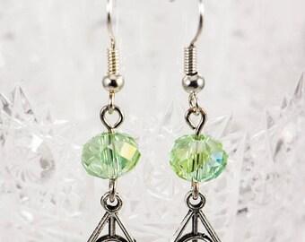 25% OFF Green Crystal Slytherin Charm Earrings - Slytherin Earrings - Harry Potter Earrings - Deathly Hallows Earrings - Green Earrings