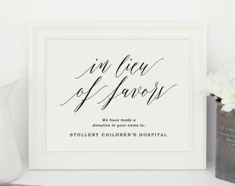 In Lieu of Favor Sign, Donation Sign, Donation Wedding Sign, Wedding Signs | Edit in Word or Pages