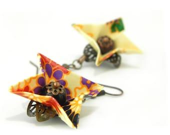 Origami earring hortensia ( flower )