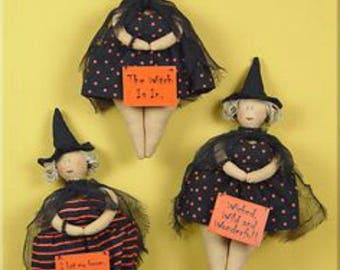 Hanging Witchie Woman Set of 3/Wreath Supplies/Halloween Decor/Wreath Enhancement/F1161