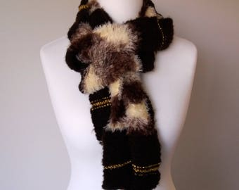 GetWoolly Infinity scarf, multi wool mix, chocolate browns, creams, gold yarn, random knit
