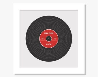 Personalised favourite song lyrics print gift, any song, any colour scheme
