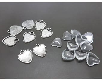 20 sets supports matte silver 16x16mm hearts cabochons and cabochon