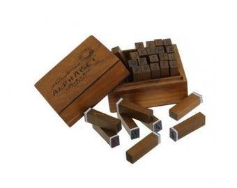 28 wooden case with Alphabet stamps